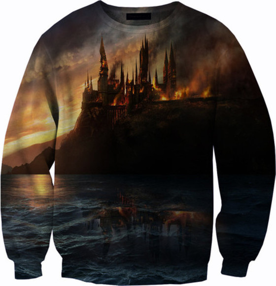 harry potter hermione hogwarts ron weasley water castle sweater thsirt all over print fire summer outfits hogwarts clothing all over printed clothing