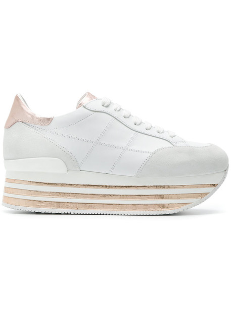 Hogan women sneakers platform sneakers leather white suede shoes