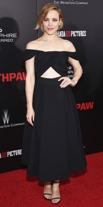 dress midi dress black dress rachel mc adams gown cut-out dress