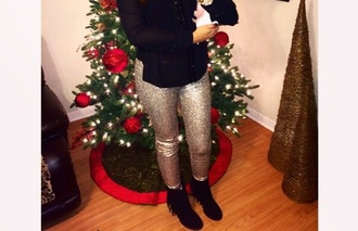 pants sequin sparkle gold