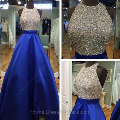 Halter Backless Satin Tulle Floor-length Beading Ball Gown Elegant Formal Dresses - formaldressaustralia.com