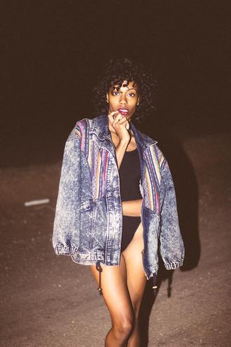 jacket vintage denim 90s style hipster girl acid wash oversized jacket
