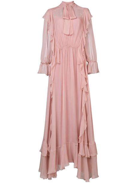 gown bow women silk purple pink dress