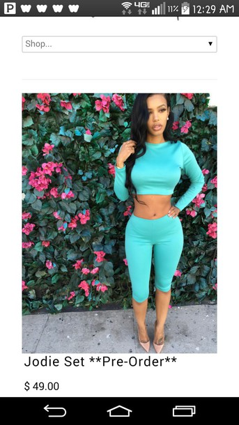 two-piece turquoise leggings top shirt