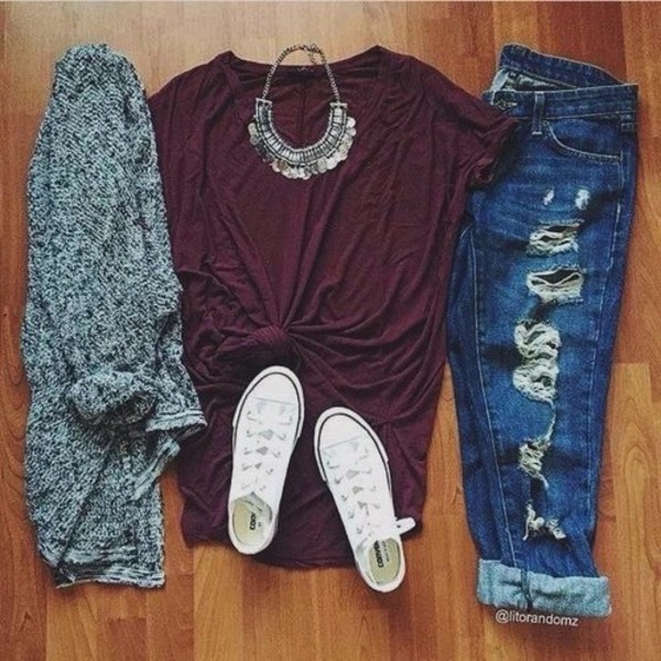 jeans t-shirt t-shirt red necklace white converse grey cardigan shirt fall outfits style boyfriend jeans Accessory jewels ripped jeans top maroon shirt pants black sweater
