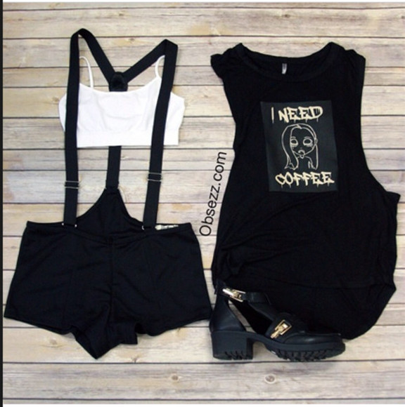 shoes black top black tank top bottoms suspender shorts black shorts black suspenders black suspender shorts hipster hipster shorts hipster outfit chucky shoes buckle boots cutout boots gold buckled boots muscle tank i need coffee graphic tee graphic tops graphic top