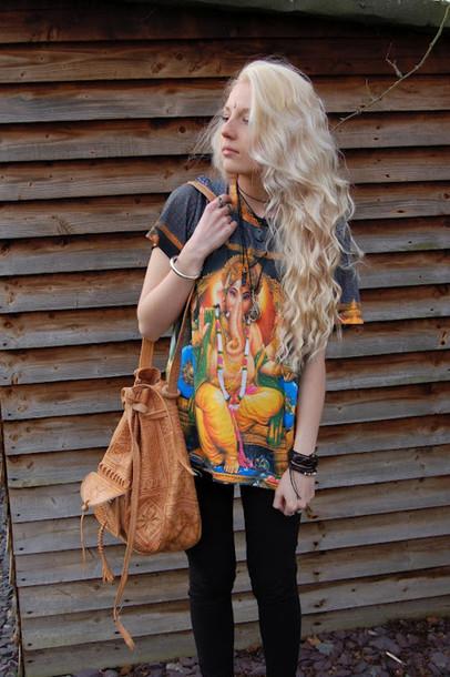 t-shirt hippie boho native american bag summer outfits religious religion boho yellow blue red shirt