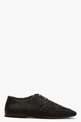 shoes derbies black menswear casual shoes pattern weave raffia