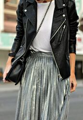skirt,silver pleated skirt,white shirt,black leather jacket,black purse