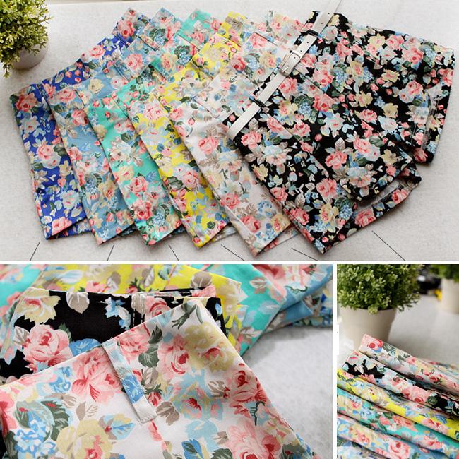 Women New Blooming Flowers Floral Print High Elastic Waist Mini Pants Shorts O | eBay