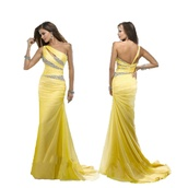 dress,2015 hot selling mermaid prom dresses beaded yellow one shoulder court train chiffon evening gowns w