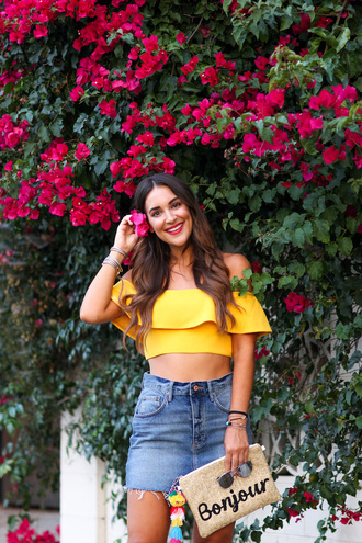 top tumblr off the shoulder off the shoulder top yellow yellow top ruffle skirt mini skirt denim denim skirt bag summer outfits