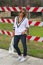 the courtney kerr,sweater,jeans,shoes,bag,jewels,sunglasses