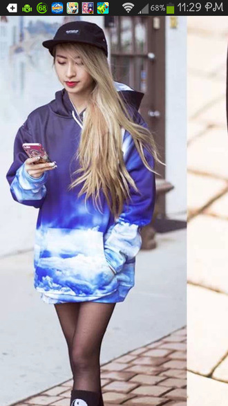 sweater blue hoodie hoodie dress clouds blue blue and white hoodie