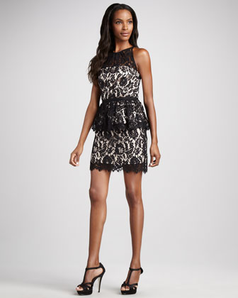 Milly Liza Lace Peplum Dress - Neiman Marcus Last Call