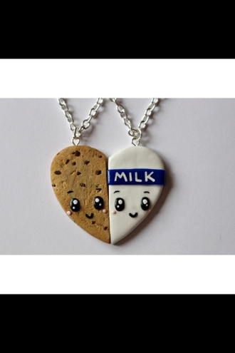 jewels cookie milk necklace cute cute necklace jewelery best friends necklace girly