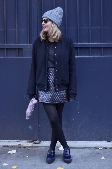 baseball jacket sunglasses jacket blogger fall outfits jane's sneak peak top knitted beanie tartan pouch creepers