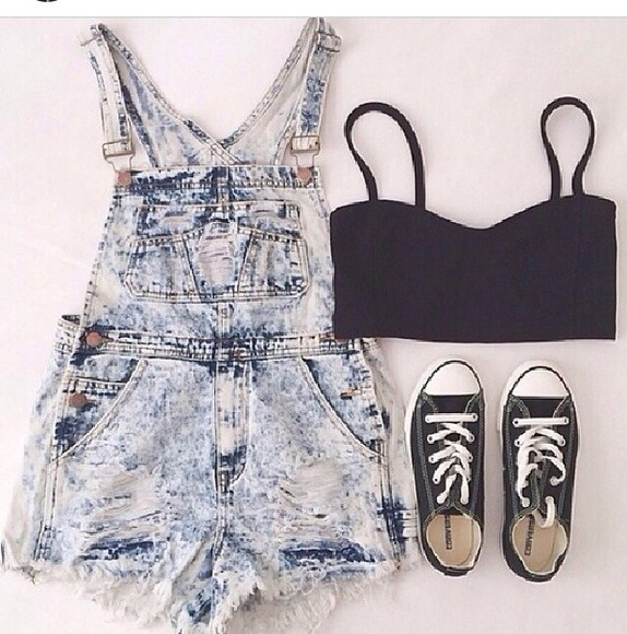 overalls shorts tank top acid wash converse crop tops acid washed shorts