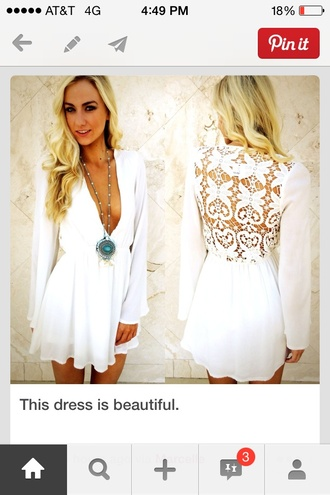 dress white flowy short dress deep plunge
