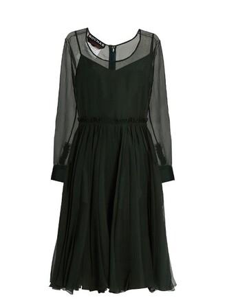 dress pleated silk green
