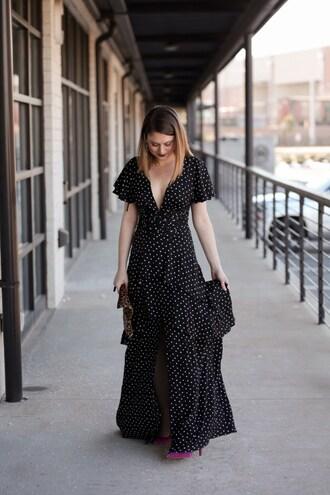 polishedclosets blogger dress shoes jewels bag make-up maxi dress polka dots dress pumps