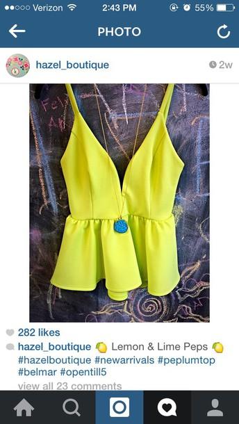 blouse lemon peplum top