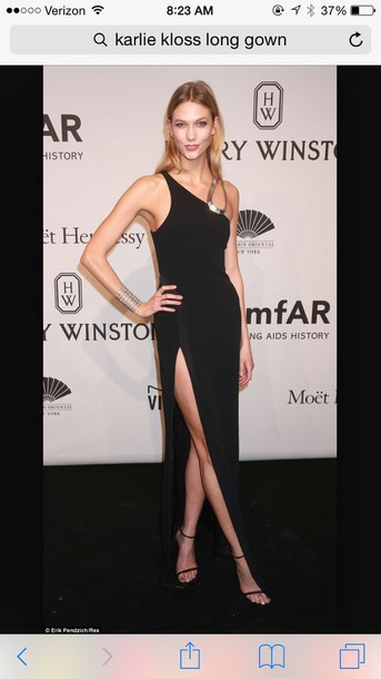 dress karlie kloss gown black dress slit dress