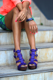 shoes,wedges,purple,skirt,high heels,teal,pink,blouse,nail polish
