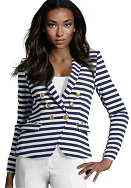 jacket blazer blue white