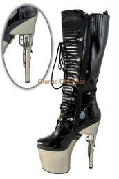 shoes,platform boots,gun heels,black,silver,chrome,lace up front