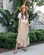 skirt,hat,tumblr,midi skirt,gingham skirt,gingham,t-shirt,white t-shirt,sandals,flats,slide shoes,sun hat,bag,shoes