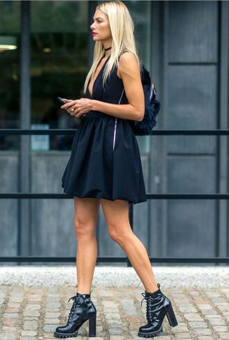 dress london fashion week 2016 streetstyle little black dress black dress ankle boots mini dress choker necklace plunge dress