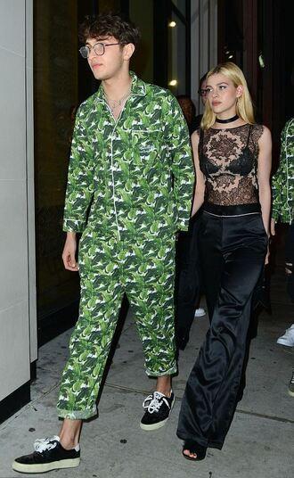 top nicola peltz anwar hadid lace top pants pattern menswear mens pants mens shirt