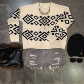 sweater,aztec,knitwear,black,white