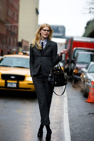 pants tie power suit cropped pants grey pants blazer grey blazer shirt blue shirt bag handbag black bag shoes high heels black high heels glasses office outfits shot from the street streetstyle fall outfits two piece pantsuits matching set