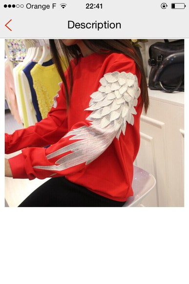 feathers hoodie sweater streetwear red