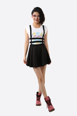 skirt spring skirt with suspenders black skirt skater skirt skater soft grunge vintage