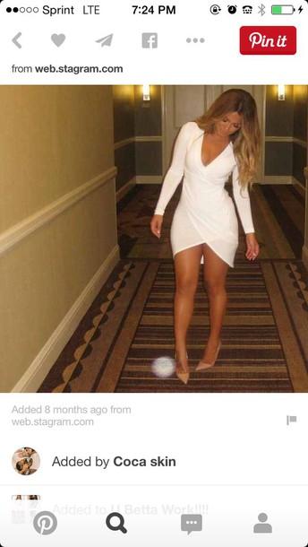 dress white dress v cut long sleeve dress