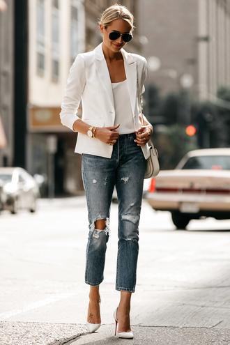 fashionjackson blogger jacket tank top jeans shoes bag sunglasses jewels white jacket blazer pumps white heels high heel pumps