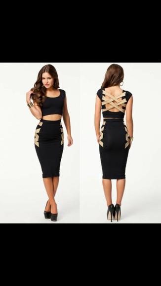 black maxi dress midi crossed back brown dress crop tops skirt