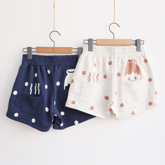 shorts milk cute fashion style kawaii white navy summer japanese fashion teenagers polka dots