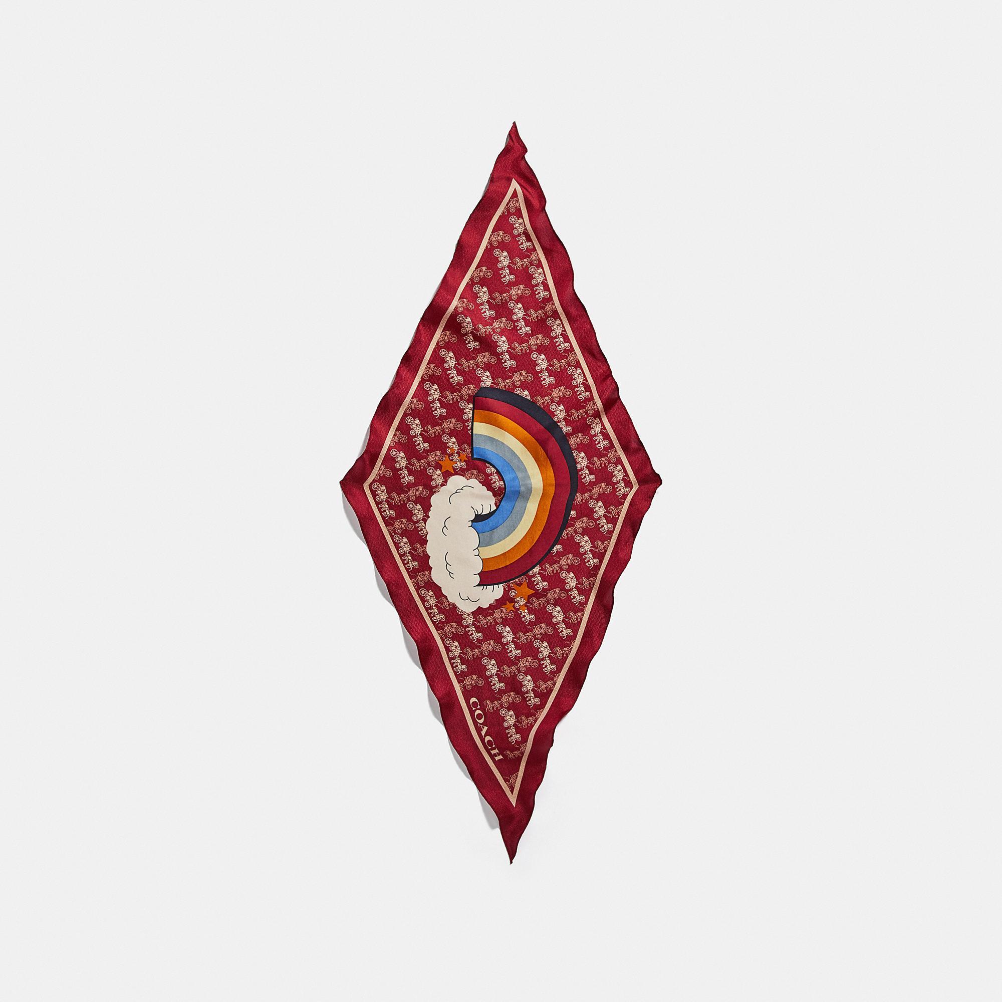 Horse And Carriage Rainbow Print Silk Diamond Scarf