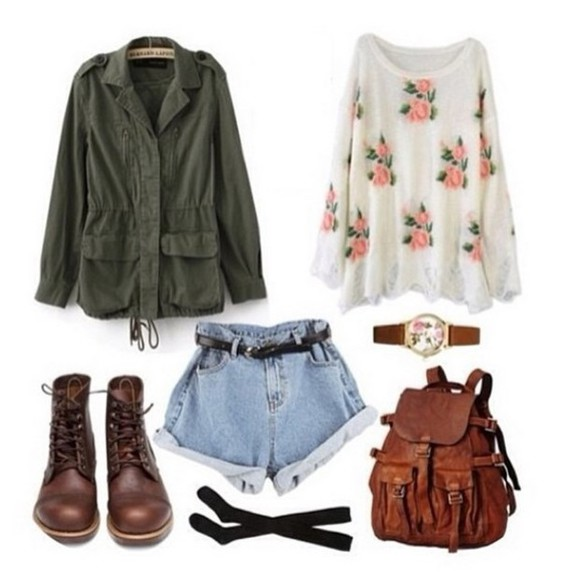 shoes bag jacket shorts vintage flowers brown black blue watch white sweater boots tights cute old antique green Khaki coat