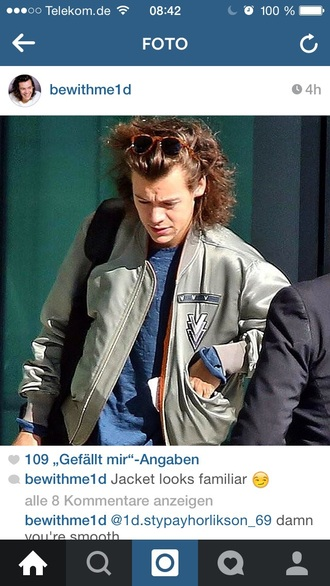 olive green bomber jacket harry styles sunglasses jacket t-shirt
