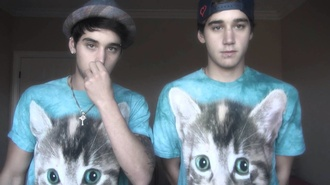 t-shirt shirt blue shirt janoskians cats cute mens t-shirt