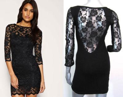 New celebrity sexy black cocktail short dress sz  m