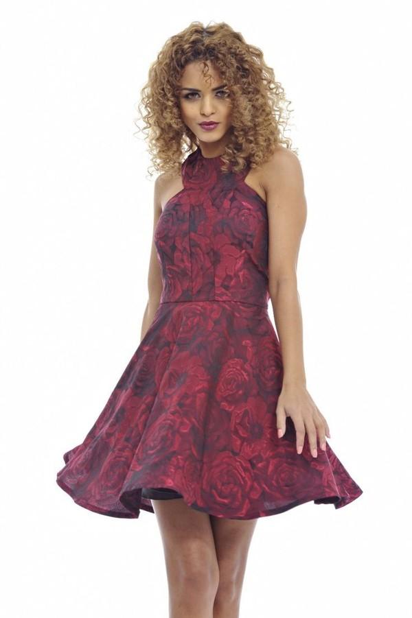 red rose dress skater dress red and black high neck dress sleeveless skater dress www.ustrendy.com