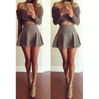 dress set two-piece two piece dress set dress set grey grey dress crop tops skirt pleated skirt skater skirt plaid skirt tartan skirt