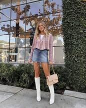 skirt,mini skirt,denim skirt,high waisted skirt,white boots,high heels boots,thigh high boots,shoulder bag,cropped jacket,check blazer,white top