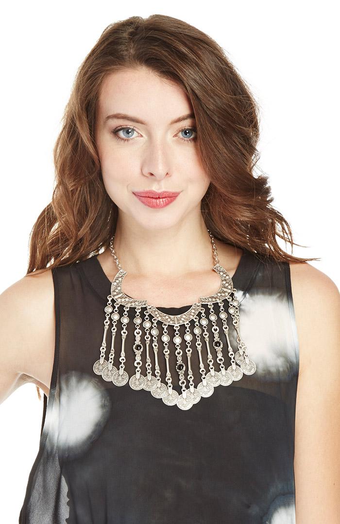 Chanour coin fringe necklace